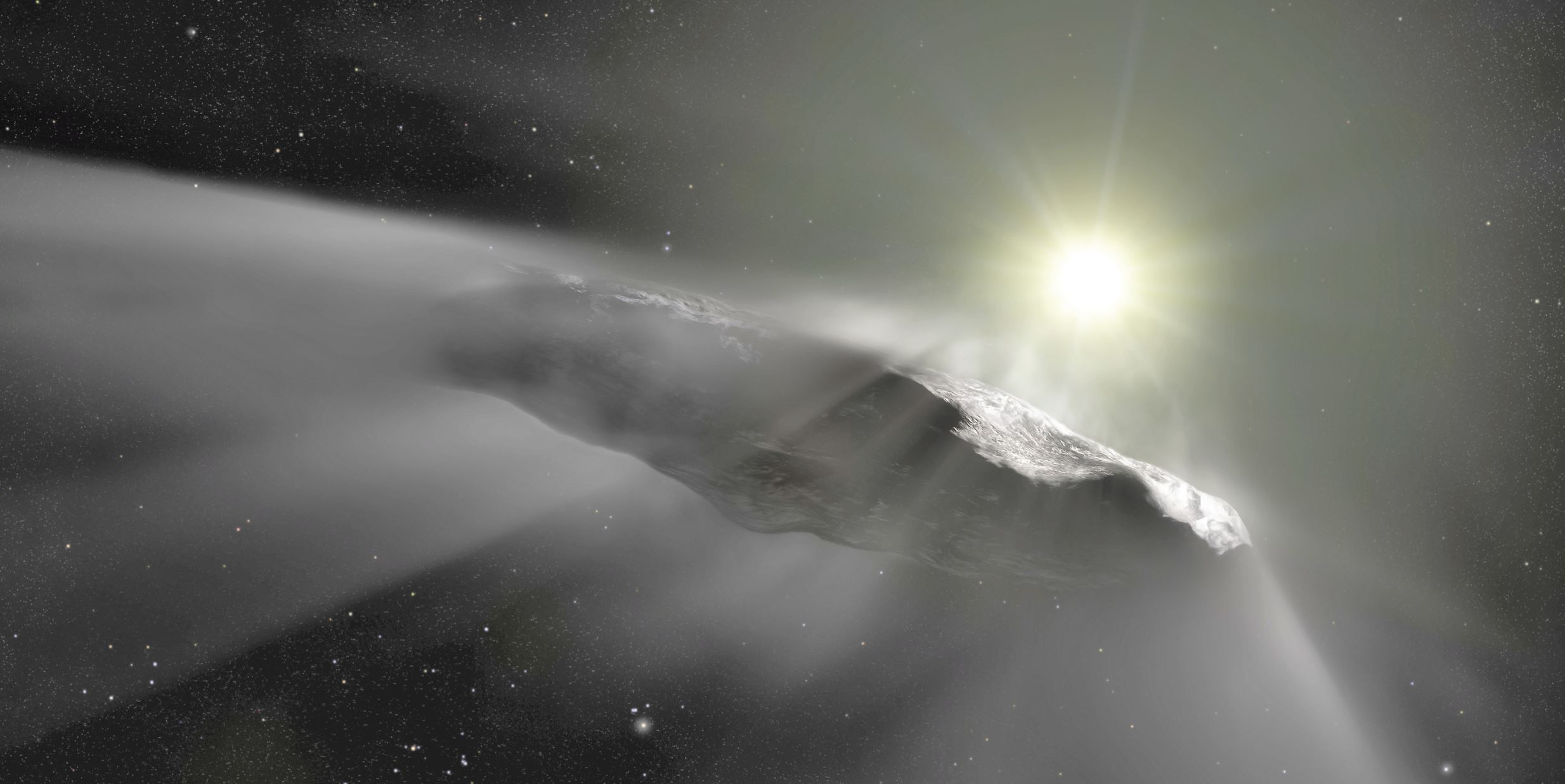 An artist's impression of `Oumuamua, the first interstellar object discovered in the Solar System. - Image Credit:  ESA/Hubble, NASA, ESO, M. Kornmesser ,  CC BY