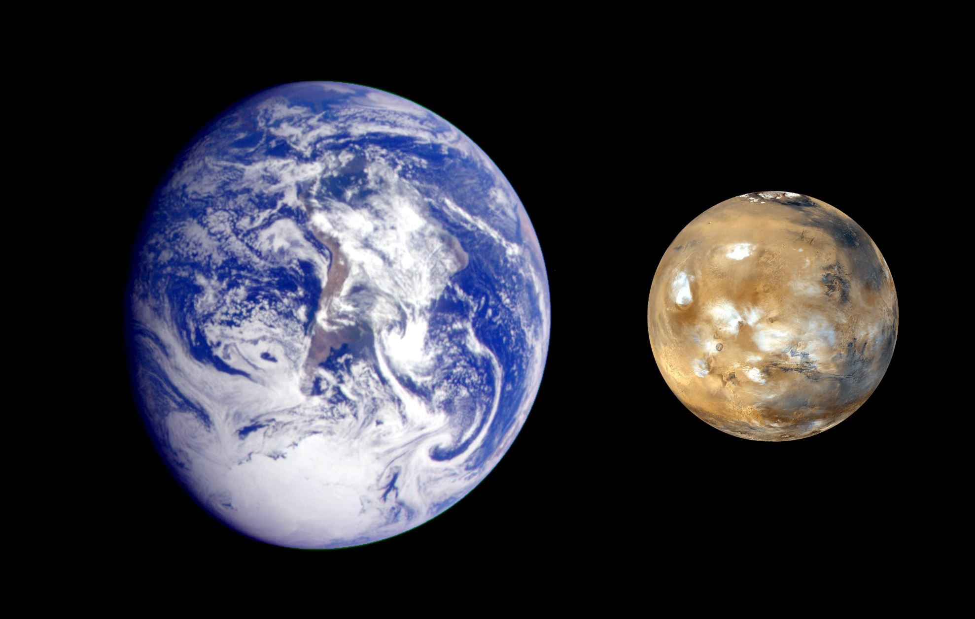 This composite image of Earth and Mars was created to allow viewers to gain a better understanding of the relative sizes of the two planets. - Image Credit: NASA/JPL-Caltech
