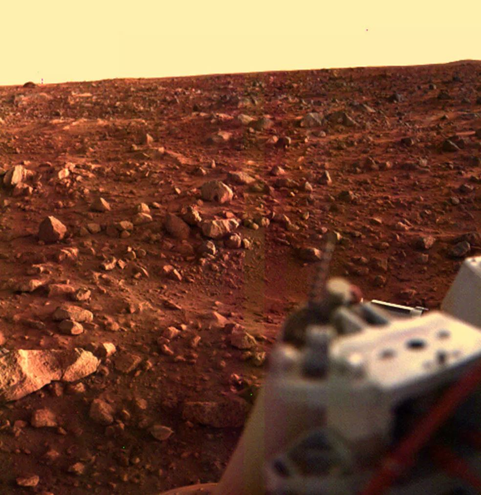 This colour image of the Martian surface was taken by Viking Lander 1, looking southwest, about 15 minutes before sunset. - Image Credit:  NASA/JPL