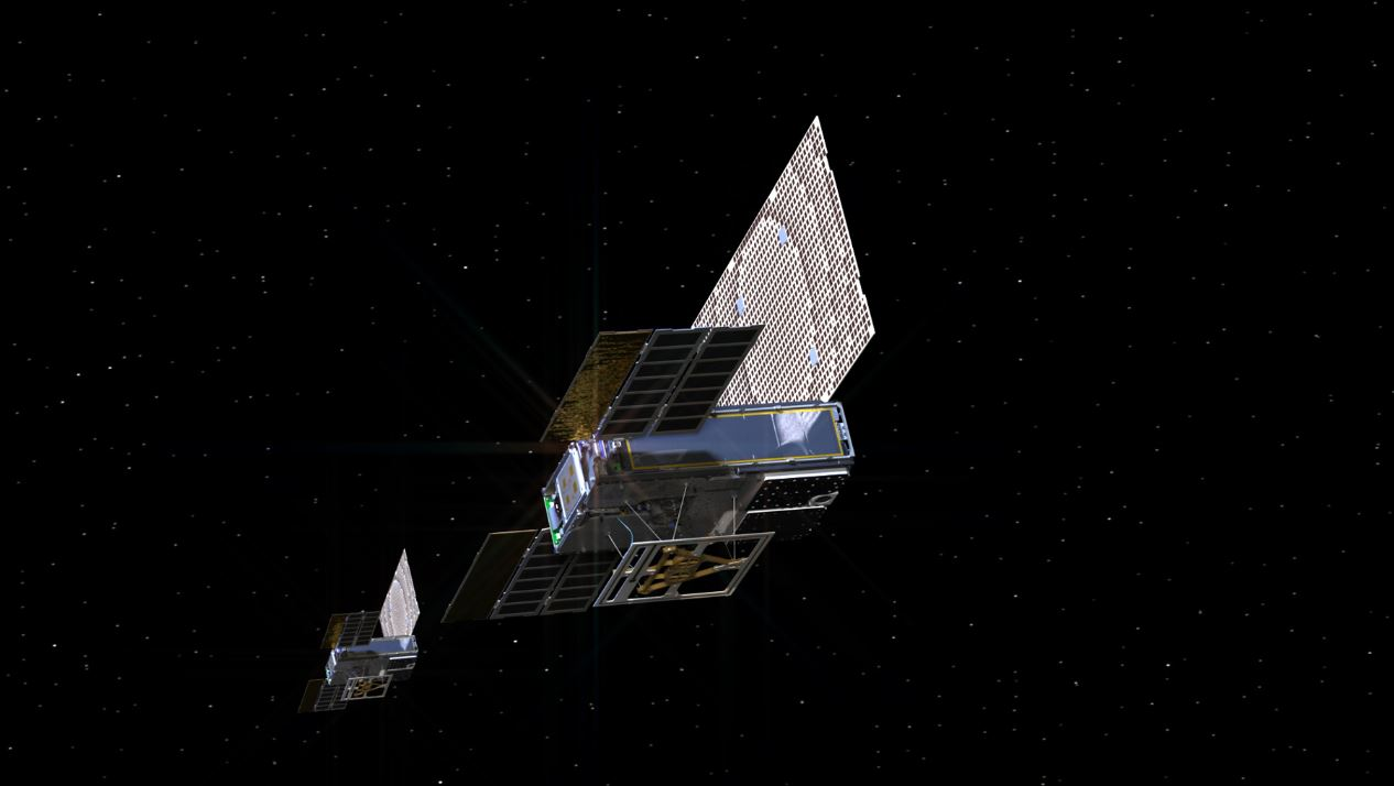 Artist's impression of the twin Mars Cube One (MarCO) satellites making their way through deep space. - Image Credit: NASA/JPL-Caltech