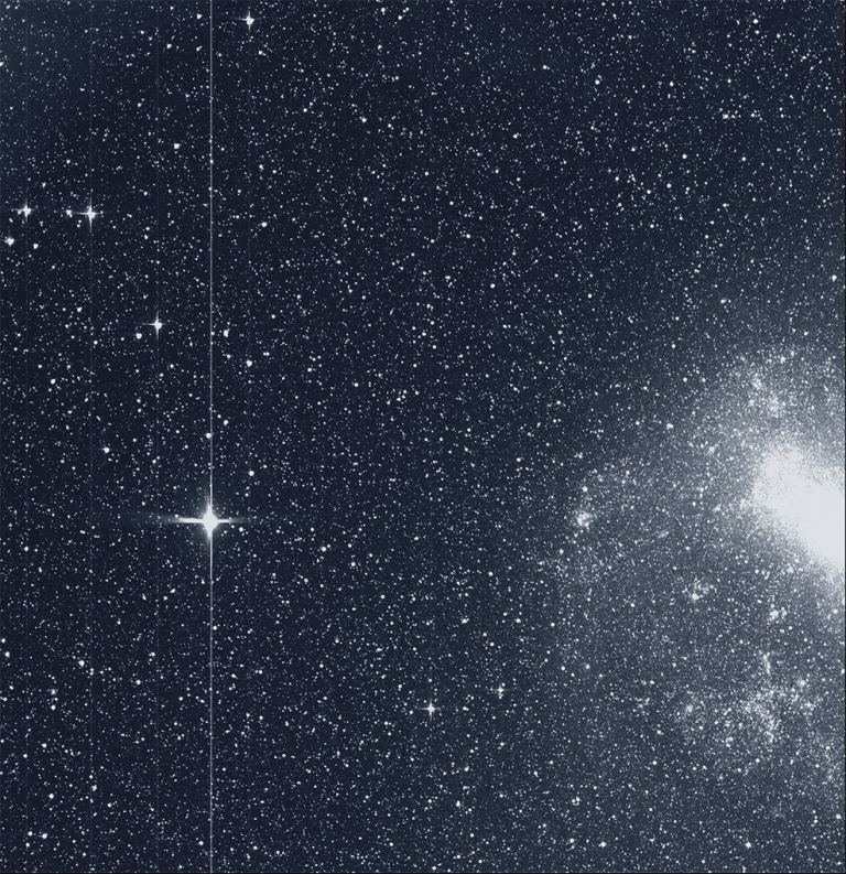 This is TESS's First Light image. On the left is the star R Doradus, and on the right is the Large Magellanic Cloud. -Image Credit: By NASA/MIT/TESS