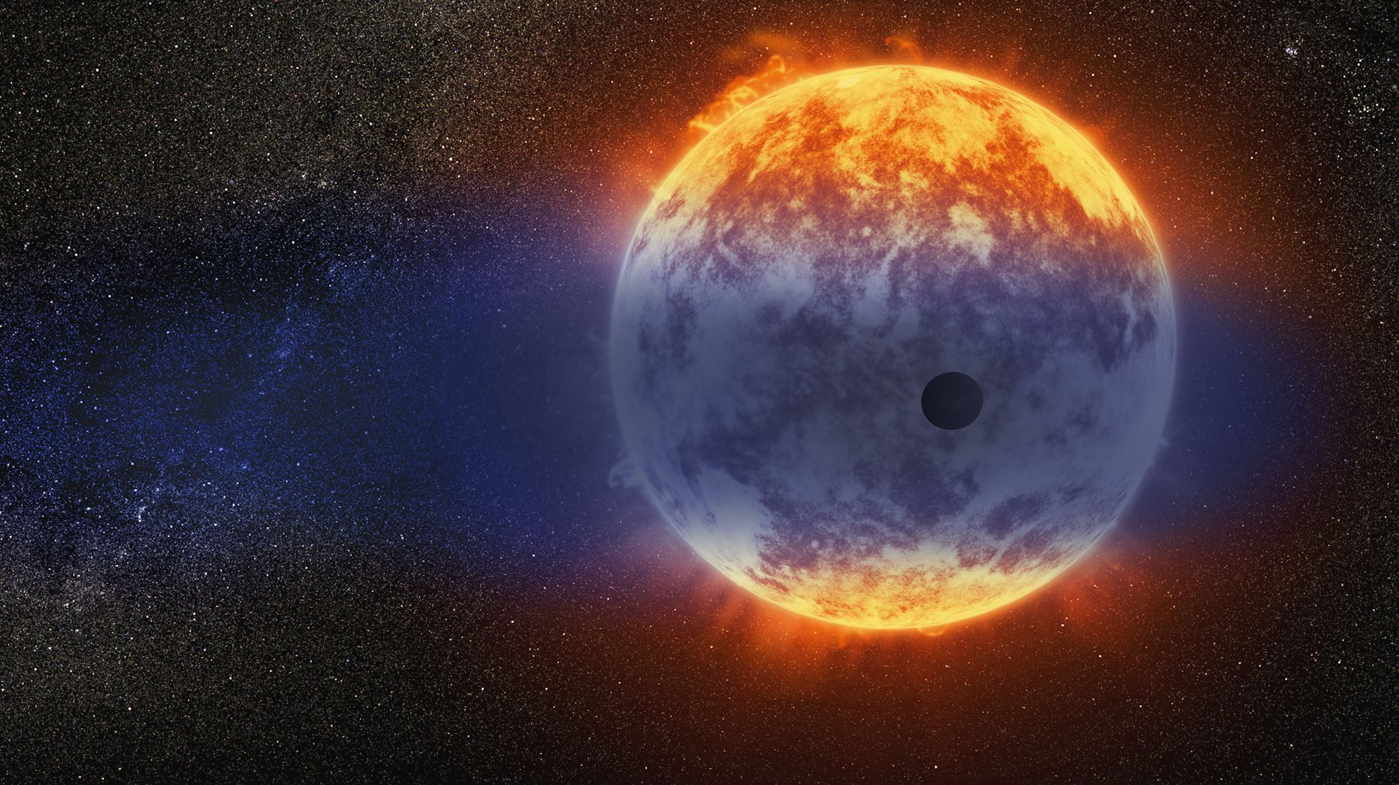 This artist's illustration shows a giant cloud of hydrogen streaming off a warm, Neptune-sized planet just 97 light-years from Earth. The exoplanet is tiny compared to its star, a red dwarf named GJ 3470. The star's intense radiation is heating the hydrogen in the planet's upper atmosphere to a point where it escapes into space. - Image Credit: NASA, ESA, and D. Player/STScI