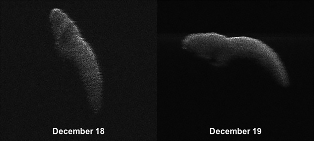 These two radar images of near-Earth asteroid 2003 SD220 were obtained on Dec. 18 and 19 by coordinating observations with the Arecibo Observatory's 1,000-foot (305-meter) antenna in Puerto Rico and the National Science Foundation's (NSF) 330-foot (100-meter) Green Bank Telescope in West Virginia. The radar images reveal the asteroid is at least one mile (1.6 kilometers) long. - Image Credits: NASA/Arecibo/USRA/UCF/GBO/NSF