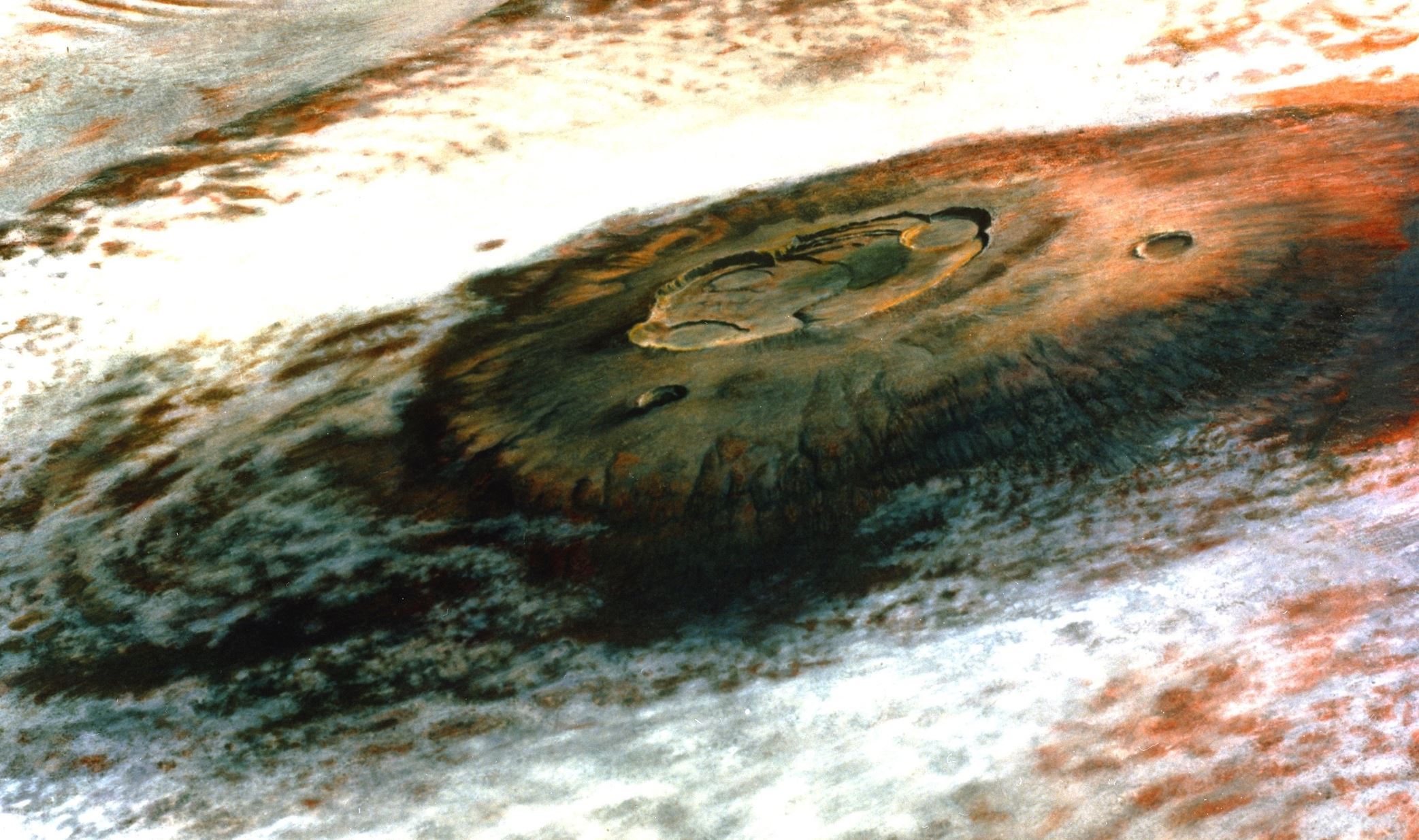 The solar system's largest volcano Olympus Mons on Mars, seen by Viking 1. - Image Credit: NASA/JPL