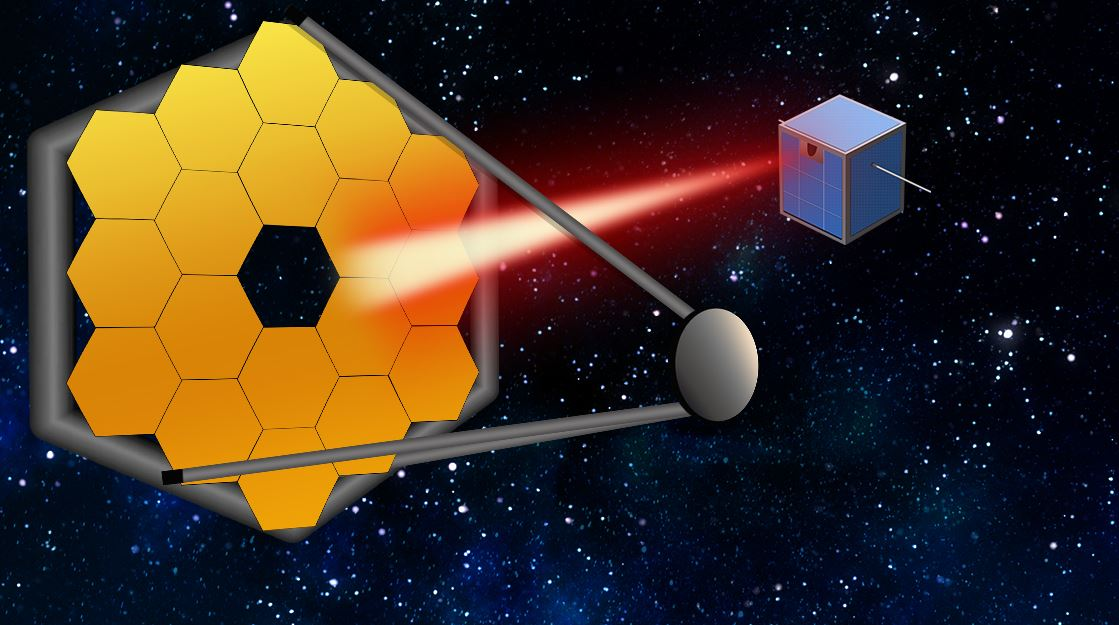"""In the coming decades, massive segmented space telescopes may be launched to peer even closer in on far-out exoplanets and their atmospheres. To keep these mega-scopes stable, MIT researchers say that small satellites can follow along, and act as """"guide stars,"""" by pointing a laser back at a telescope to calibrate the system, to produce better, more accurate images of distant worlds. - Image Credit: Christine Daniloff, MIT"""