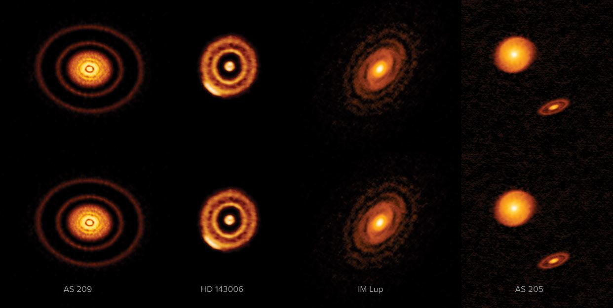Labeled version of four of the twenty disks that comprise ALMA's highest resolution survey of nearby protoplanetary disks. - Image Credit: ALMA (ESO/NAOJ/NRAO) S. Andrews et al.; NRAO/AUI/NSF, S. Dagnello