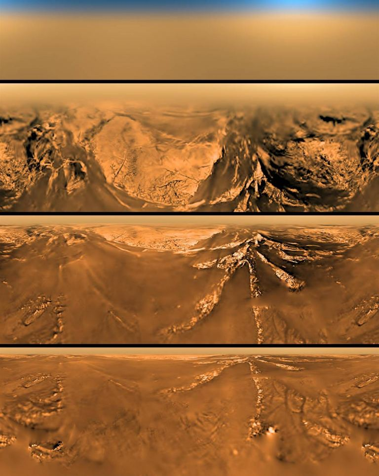Four images of Titan taken by the Huygens probe as it descended towards the surface. - Image Credit:ESA/NASA/JPL/University of Arizona
