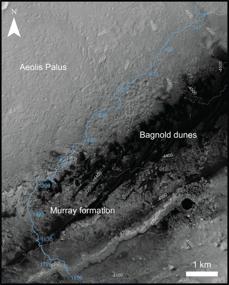 This image was captured by NASA's Mars Reconnaissance Orbiter. It shows part of Curiosity's path, past the Bagnold dunes in Gale Crater, through the Murray formation at the base of Mt. Sharp, and up the bottom slope of Mt. Sharp. - Image Credit: NASA/JPL-Caltech. (click to enlarge)