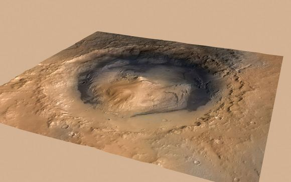 A composite image of Gale Crater and Mt. Sharp, or Aeolis Mons. The image comes from three orbiter: ESA's Mars Express Orbiter, NASA's Mars Reconnaissance Orbiter, and the Viking Orbiter. The faint green dot in the foreground of the mountain is Curiosity's landing site. - Image Credit: By NASA/JPL-Caltech/ESA/DLR/FU Berlin/MSSS (click to enlarge)
