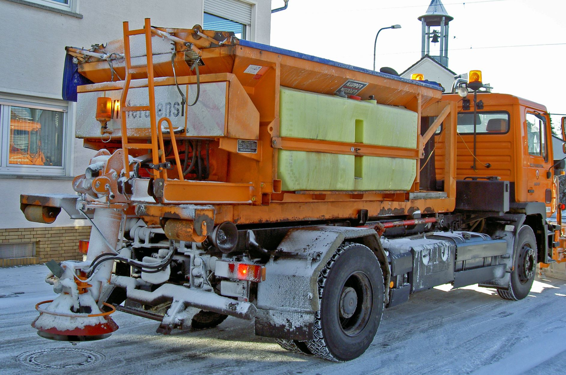 Spraying salt onto roads is a safety measure. - Image Credit: Image Credit:  Heidas via Wikimedia Commons