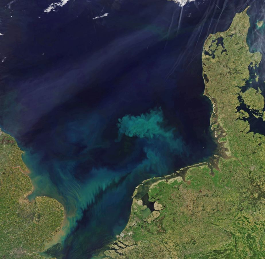 A new MIT study finds that over the coming decades climate change will affect the ocean's color, intensifying its blue regions and its green ones. - Image Credit: NASA Earth Observatory (Netherlands / North Sea)