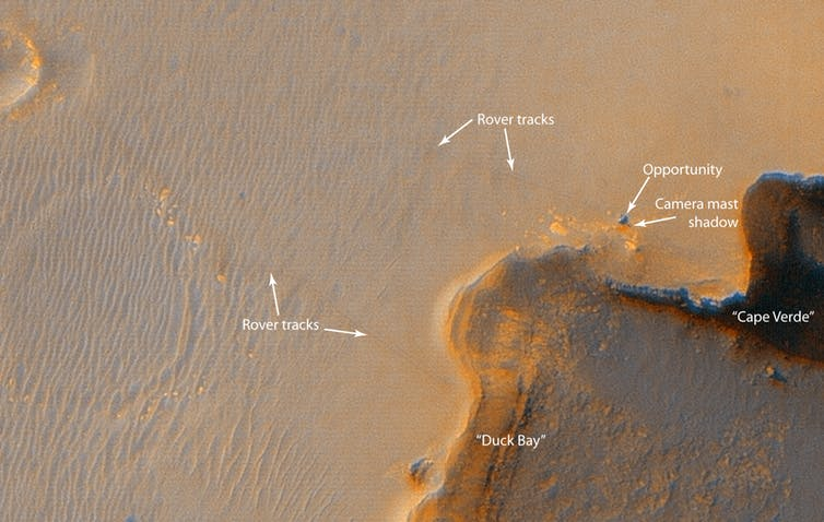 Opportunity at Victoria Crater spotted from orbit.- Image Credit: NASA/JPL/University of Arizona