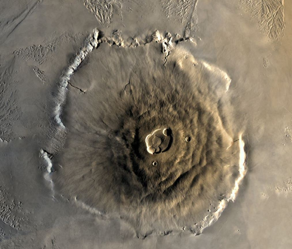 Color mosaic of Mars' greatest mountain, Olympus Mons, viewed from orbit. Credit NASA/JPL