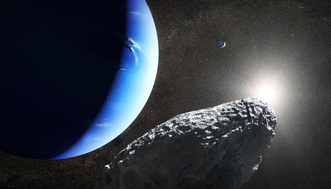 This is an artist's concept of the tiny moon Hippocamp that was discovered by the Hubble Space Telescope in 2013. Only 20 miles across, it may actually be a broken-off fragment from a much larger neighboring moon, Proteus, seen as a smaller crescent in the upper right. This is the first evidence for a moon being an offshoot from a comet collision with a much larger parent body. - Image Credit: NASA, ESA and J. Olmsted (STScI)