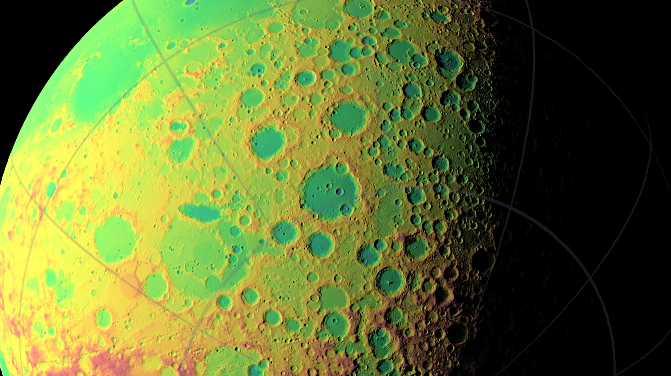 A false color view of the Moon's southern latitudes. The large blue area at the bottom of the frame is the South Pole-Aitken Basin, an enormous and very old impact feature on the far side of the Moon.- Image Credit: NASA/Goddard Space Flight Center Scientific Visualization Studio.