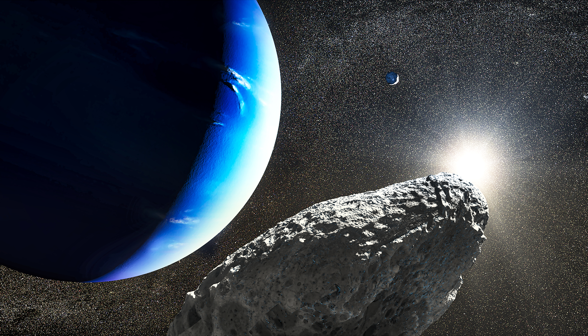 This is an artist's concept of the tiny moon Hippocamp that was discovered by the Hubble Space Telescope in 2013. Only 20 miles across, it may actually be a broken-off fragment from a much larger neighboring moon, Proteus, seen as a smaller crescent in the upper right. This is the first evidence for a moon being an offshoot from a comet collision with a much larger parent body. - Image Credits NASA, ESA and J. Olmsted (STScI)