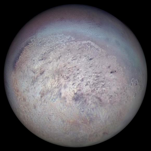 Neptune's largest moon Triton photographed on August 25, 1989 by Voyager 2. It's a captured Kuiper Belt Object, and its capture started a chain of events that led to Hippocamp, the little moon that shouldn't be there. - Image Credit: NASA