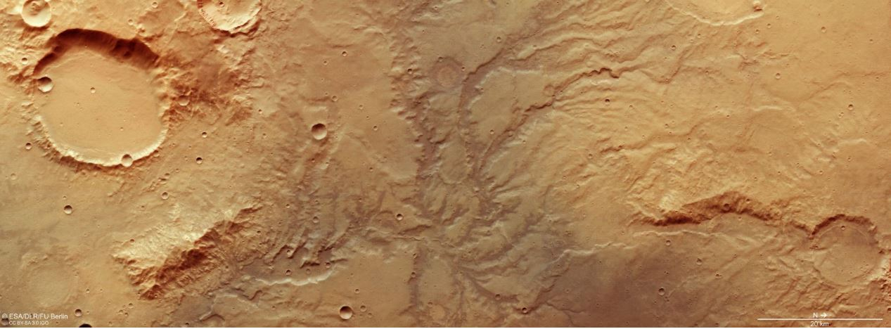 Another image of the river valley network, also captured by the High-Resolution Camera on the Mars Express Orbiter. - Image Credit:  ESA/DLR/FU Berlin.
