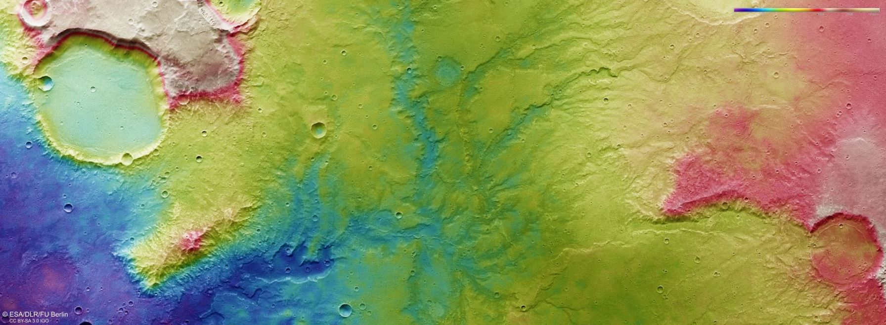 A color-coded, topographic image of the system of river valleys. Dark blue is low elevation, and red is high elevation. - Image Credit:  ESA/DLR/FU Berlin ,  CC BY-SA 3.0 IGO