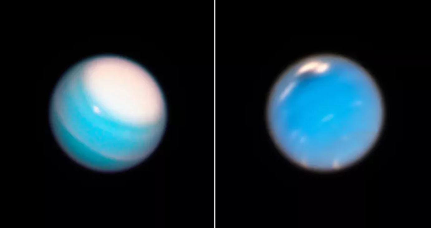 Uranus (left) and Neptune (right) seen by Hubble. - Image Credit: NASA, ESA, A. Simon (NASA Goddard Space Flight Center), and M.H. Wong and A. Hsu (University of California, Berkeley)