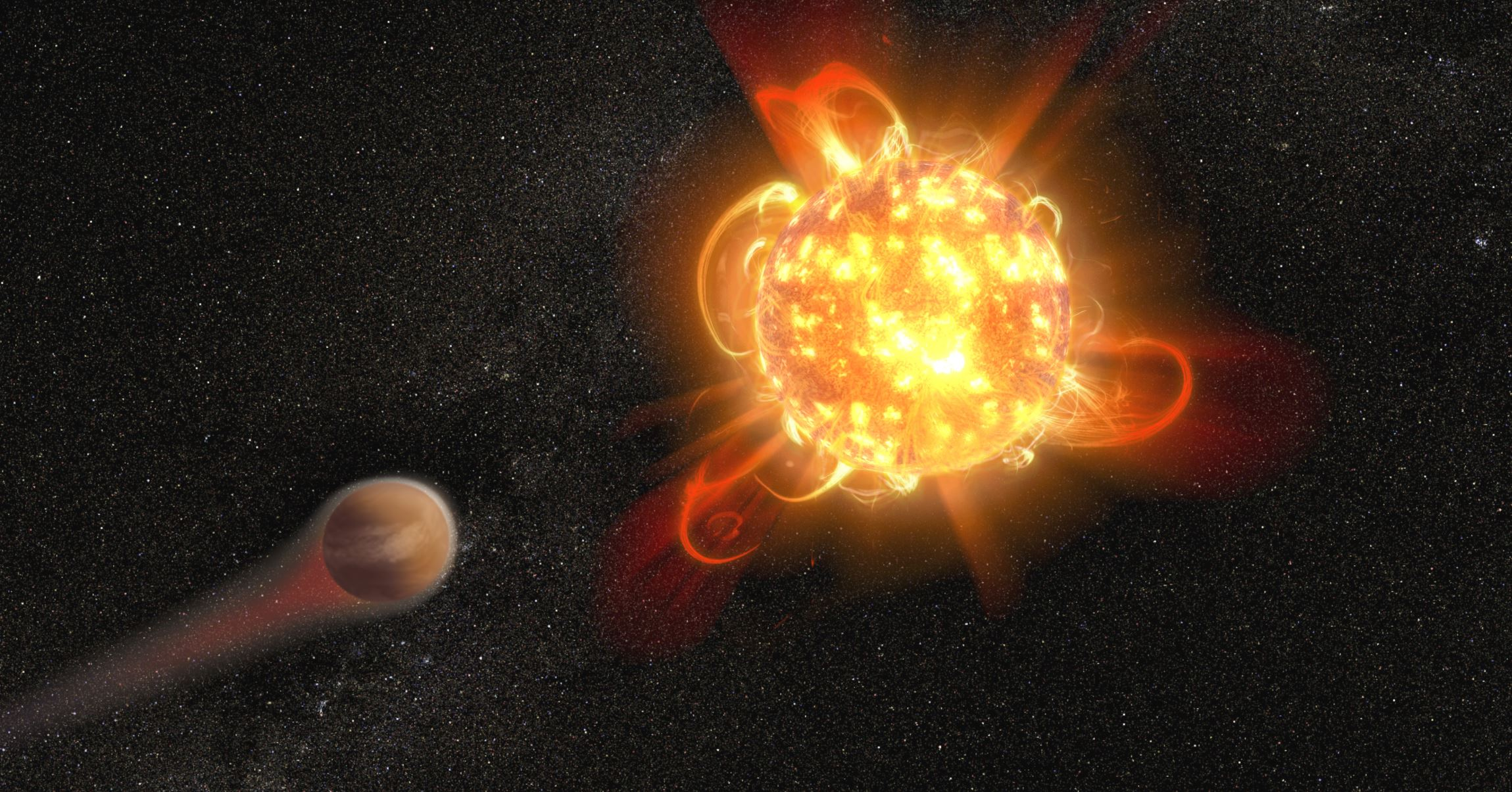 The violent outbursts from red dwarf stars, particularly young ones, may make planets in their so-called habitable zone uninhabitable. - Image Credits: NASA, ESA and D. Player (STScI)