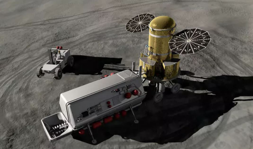 Artist's impression of what lunar in-situ resource utilization might look like. - Image Credit: NASA