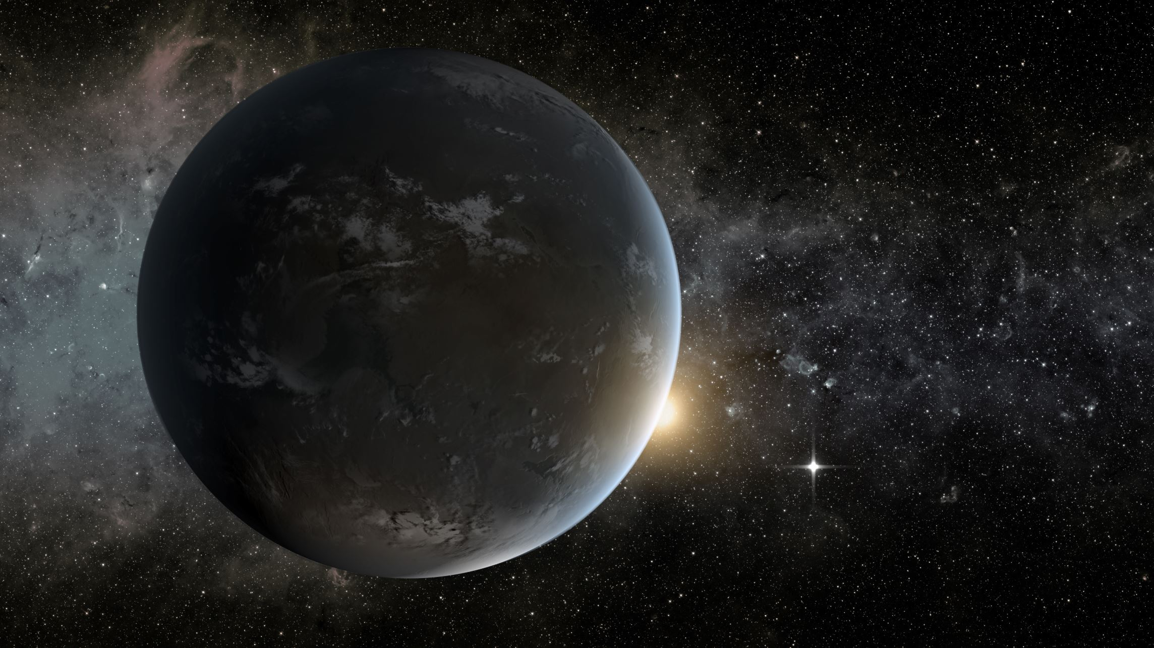 This is an artist's concept of a planet orbiting in the habitable zone of a K star. - Image Credits: NASA Ames/JPL-Caltech/Tim Pyle