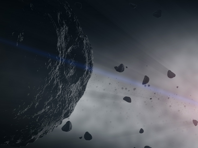 Asteroids represent building blocks of the solar system's rocky planets. When they collide in the asteroid belt, they shed dust that scatters throughout the solar system, which scientists can study for clues to the early history of planets. (illustration) - Image Credit: NASA's Goddard Space Flight Center Conceptual Image Lab
