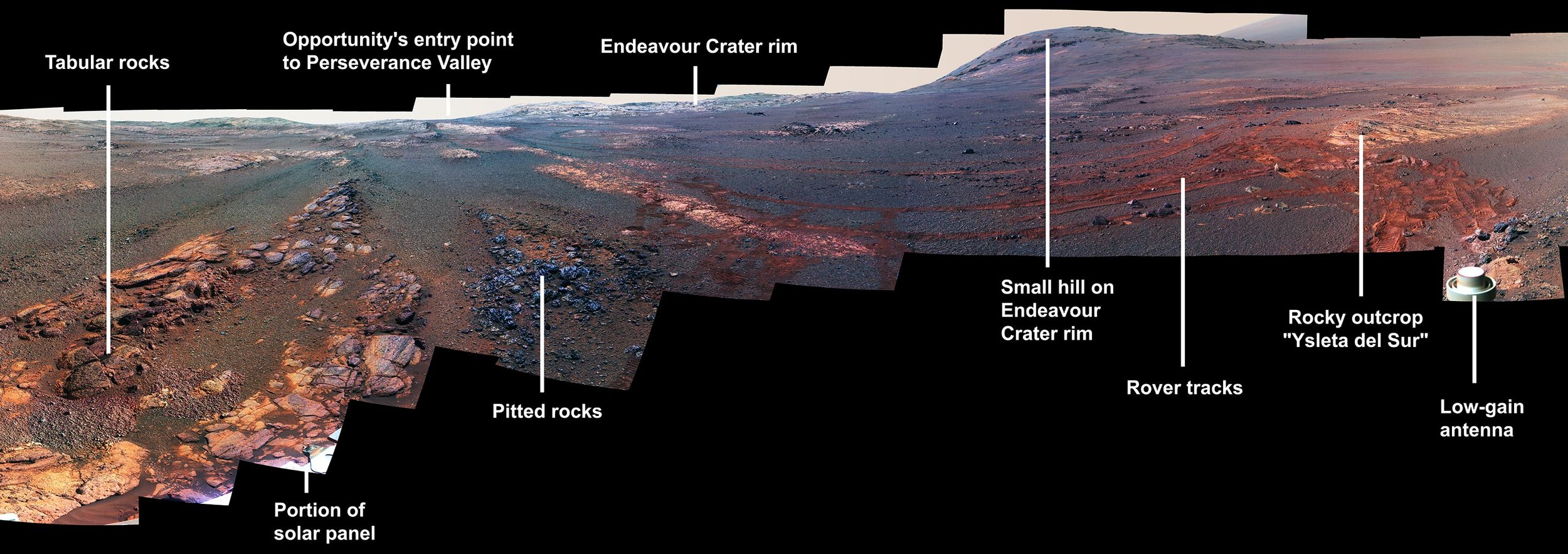 This image is a cropped version of the last 360-degree panorama taken by the Opportunity rover's Panoramic Camera (Pancam) from May 13 through June 10, 2018. The view is presented in false color to make some differences between materials easier to see. - Image Credit: NASA/JPL-Caltech/Cornell/ASU (Click image to enlarge)