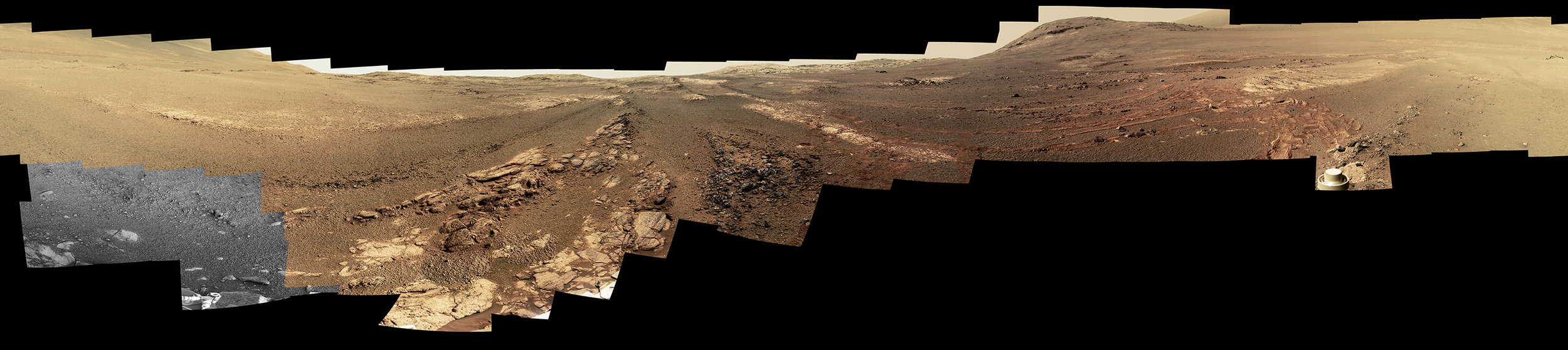 This image is an edited version of the last 360-degree panorama taken by the Opportunity rover's Pancam from May 13 through June 10, 2018. The version of the scene is presented in approximate true color. - Image Credit: NASA/JPL-Caltech/Cornell/ASU (click image to enlarge)