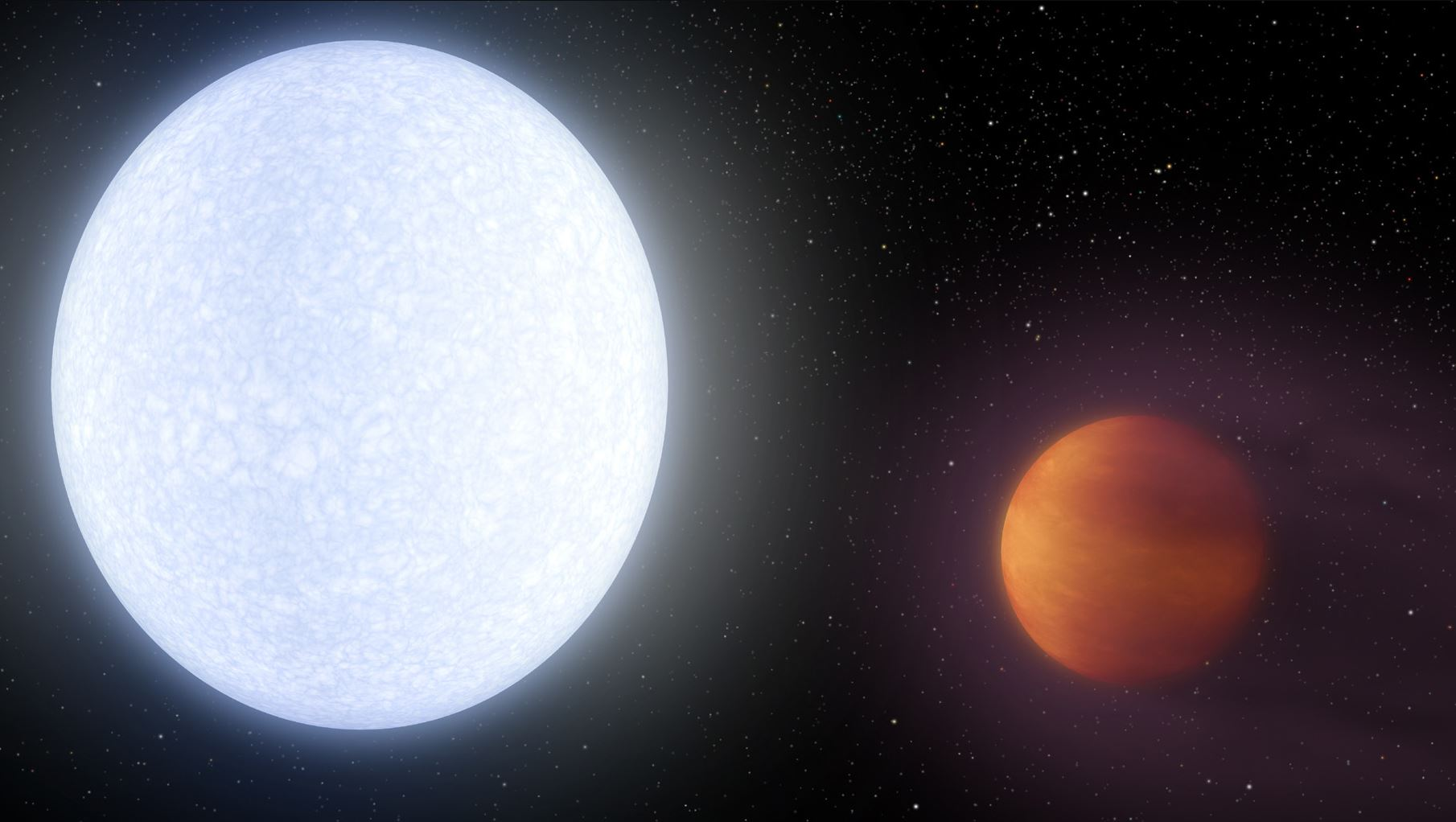 "This artist's concept shows planet KELT-9b, an example of a ""hot Jupiter,"" or a gas giant planet orbiting very close to its parent star. KELT-9b is an extreme example of a hot Jupiter, with dayside temperatures reaching 7,800 degrees Fahrenheit (4,300 Celcius). - Image Credits: NASA/JPL-Caltech"