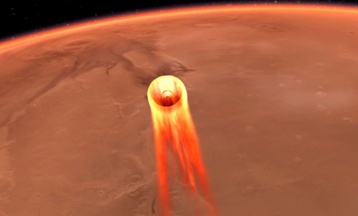 Artist's impression of the InSight Lander commencing its entry, descent and landing (EDL) phase to Mars. - Image Credits: NASA