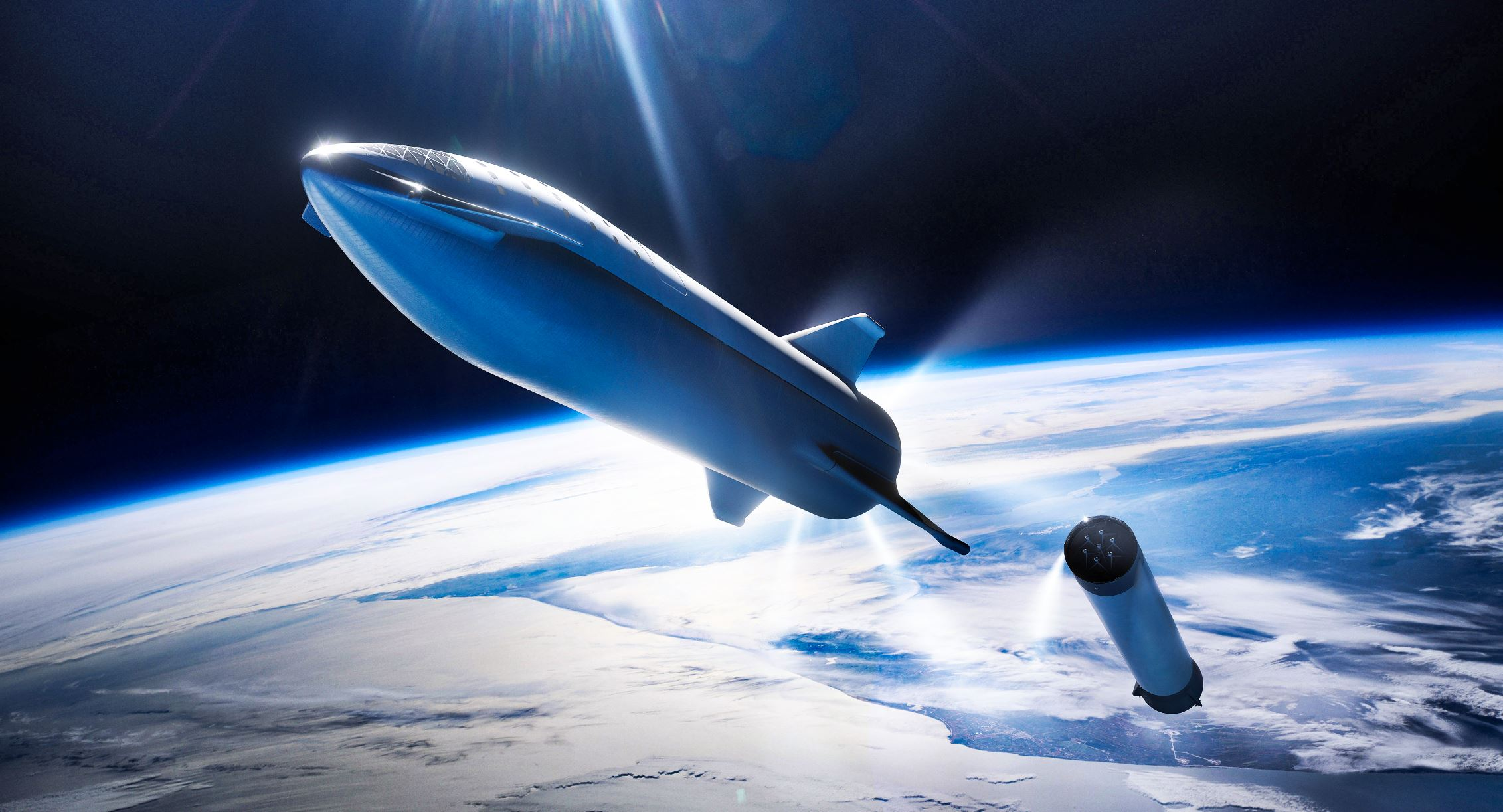 Artist's illustration of the SpaceX Starship. - Image Credits: SpaceX - HRD tuned by Universal-Sci