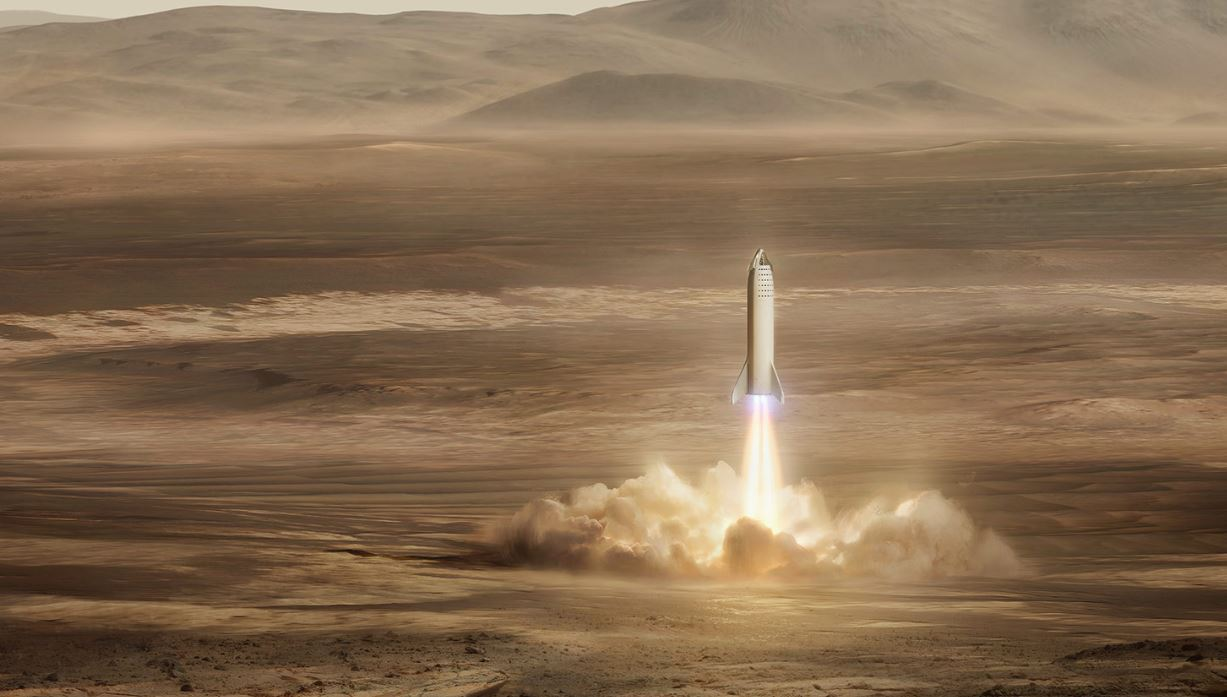 Illustration of SpaceX Starship landing on Mars. - Image Credits: SpaceX