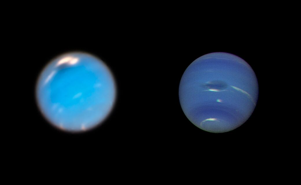 This is a composite picture showing images of storms on Neptune from the Hubble Space Telescope (left) and the Voyager 2 spacecraft (right). The Hubble Wide Field Camera 3 image of Neptune, taken in Sept. and Nov. 2018, shows a new dark storm (top center). In the Voyager image, a storm known as the Great Dark Spot is seen at the center. It is about 13,000 km by 6,600 km (approximately 8,000 miles by 4,100 miles) in size -- as large along its longer dimension as the Earth. The white clouds seen hovering in the vicinity of the storms are higher in altitude than the dark material. - Image Credit: NASA/ESA/GSFC/JPL