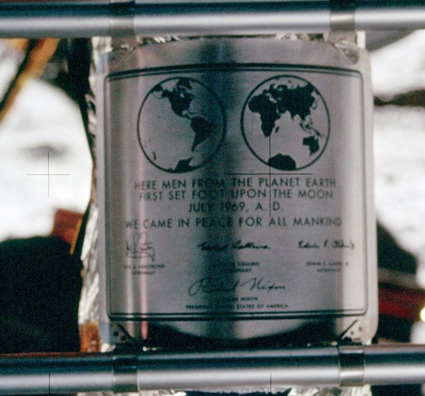 The Apollo 11 lunar module shows the stainless steel dedication plaque. The signatures are of the three Apollo 11 crew members and President Richard Nixon. - Image Credit:  NASA