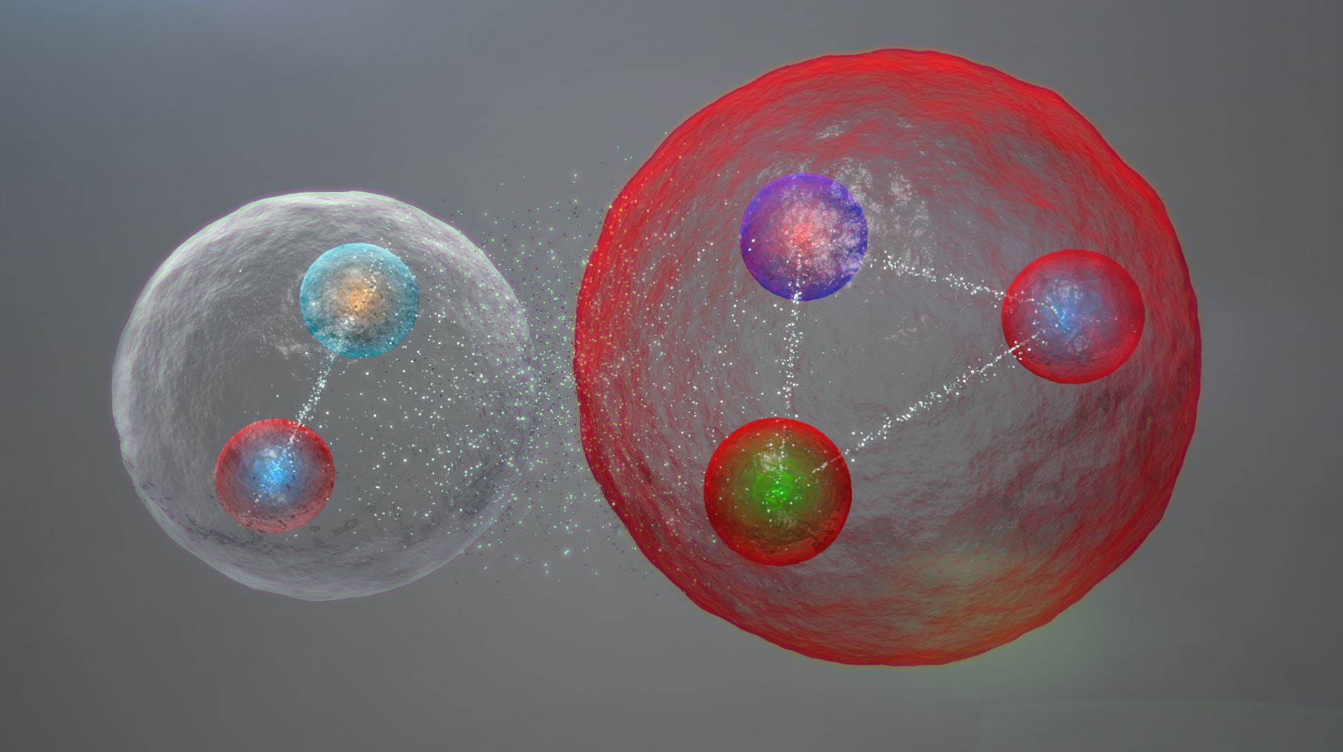 Illustration of the possible layout of the quarks in a pentaquark particle. - Image Credit:  Daniel Dominguez via CERN