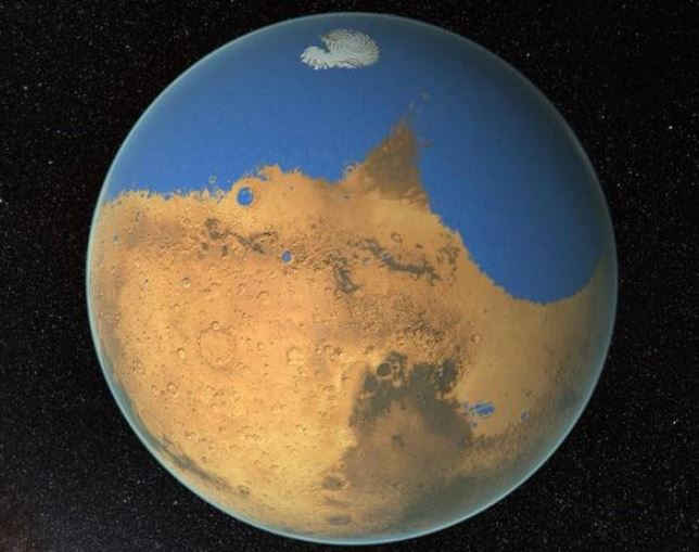 At one time, Mars had a global ocean that may have covered about one third of the planet. - Image Credit: NASA/GSFC