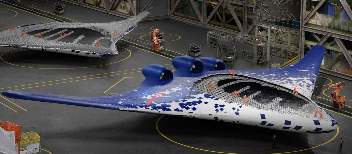 Artists concept shows integrated wing-body aircraft, enabled by the new construction method being assembled by a group of specialized robots, shown in orange. - Image Credit: Eli Gershenfeld, NASA Ames Research Center