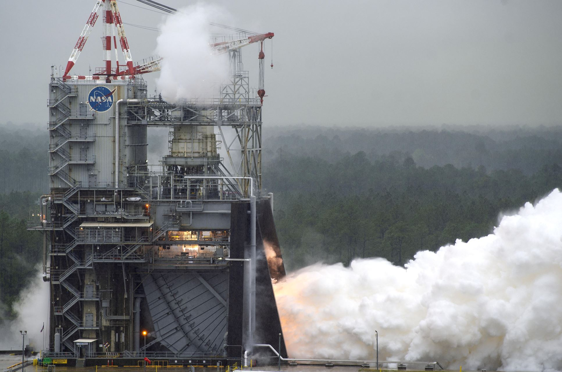 NASA conducts a test of RS-25 flight engine No. 2062 on April 4 on the A-1 Test Stand at Stennis Space Center near Bay St. Louis, Miss. The test marked a major milestone in NASA's march forward to Moon missions. All 16 RS-25 engines that will help power the first four flights of NASA's new Space Launch System rocket now have been tested. - Image Credits: NASA/SSC