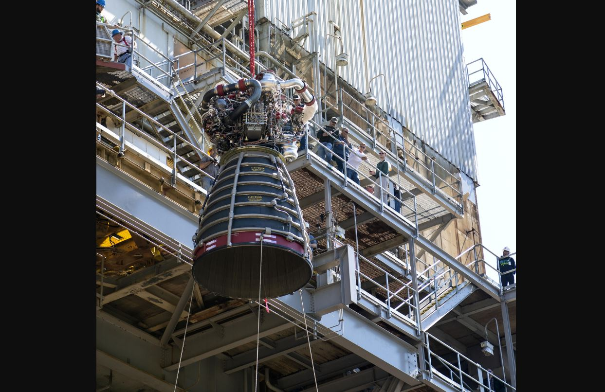 RS-25 flight engine No. 2062 is lifted onto the A-1 Test Stand at NASA's Stennis Space Center near Bay St. Louis, Miss. The Aerojet Rocketdyne-built engine was delivered to the stand March 20 and test fired April 4. - Image Credits: NASA/SSC