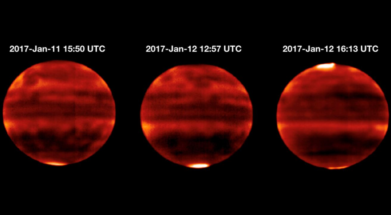 Sensitive to Jupiter's stratospheric temperatures, these infrared images were recorded by the Cooled Mid-Infrared Camera and Spectrograph (COMICS) at the Subaru Telescope on the summit of Mauna Kea, Hawaii. Areas that are more yellow and red indicate the hotter regions. - Image Credits: NAOJ and NASA/JPL-Caltech