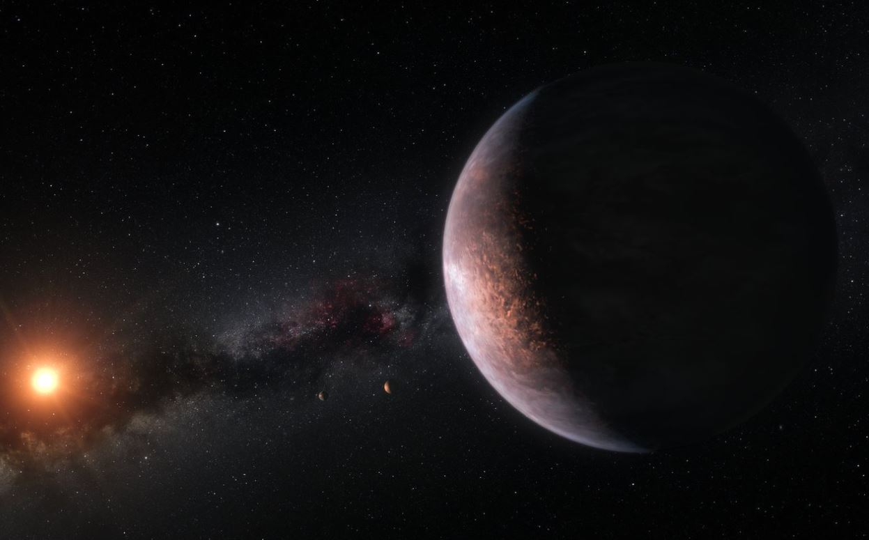 This artist's impression shows several of the planets orbiting the ultra-cool red dwarf star TRAPPIST-1. - Image Credit: ESO