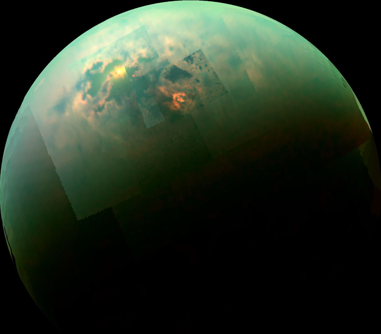 This near-infrared, color view from Cassini shows the sun glinting off of Titan's north polar seas. - Image Credits: NASA/JPL-Caltech/Univ. Arizona/Univ. Idaho
