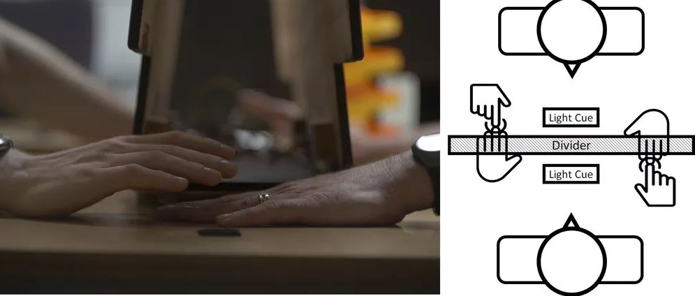 Volunteers sat across from one another with a divider in between. When the light flashed, participants tapped one another and made a judgment about which tap happened first. Sensors on their hands recorded the actual times when the touches occurred. - Image Credit: Rob Ewing, Arizona State University