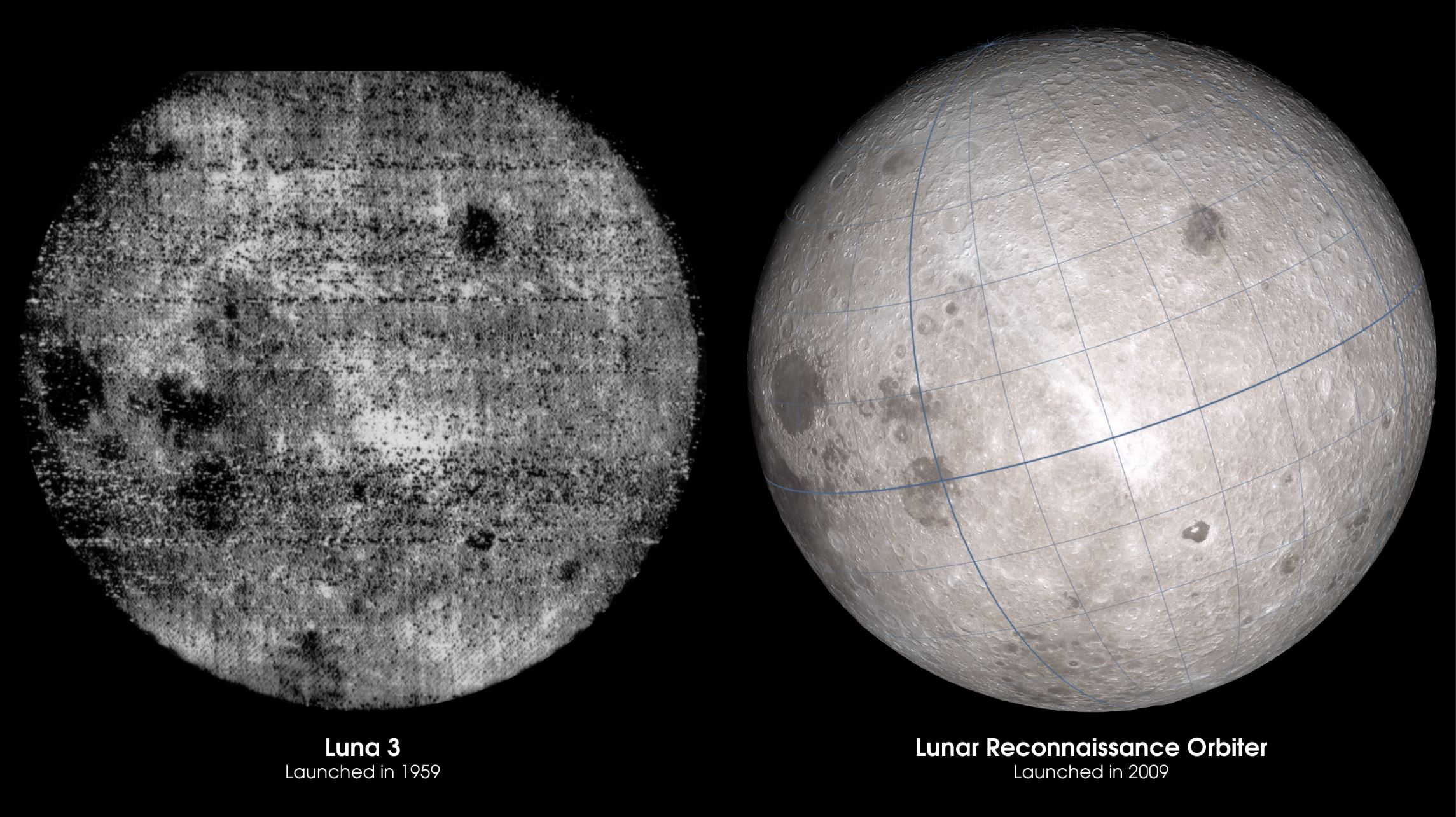 Comparison of humanity's first glimpse of the lunar far side and the same view thanks to LRO data 50 years later. - Image Credit:  NASA's Goddard Space Flight Center Scientific Visualization Studio ,  CC BY