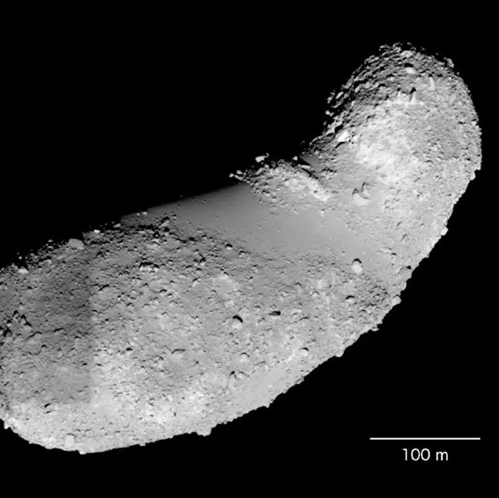 Asteroid Itokawa is a battered remnant of a larger parent body. ASU scientists have discovered that this rubble-pile asteroid still contains significant amounts of water in its minerals. - Image Credit: Japan Aerospace Exploration Agency,  CC BY-SA