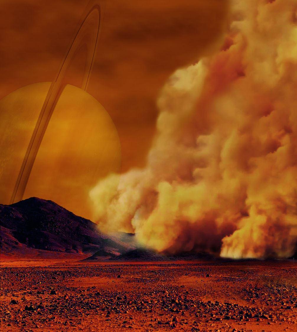 Artist's concept of a dust storm on Titan. - Image Credit:  NASA/ESA/IPGP/Labex UnivEarthS/U. Paris Diderot