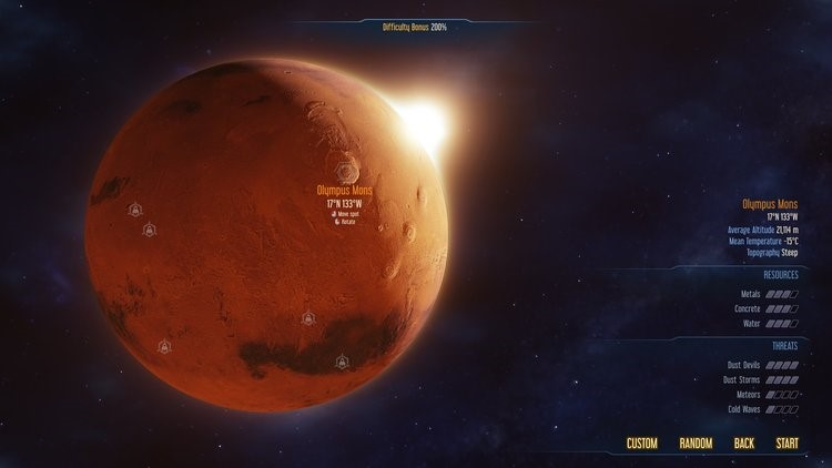 If you wish to start a colony on Olympus Mons (The highest mountain/volcano in the entire solar system) you can do so