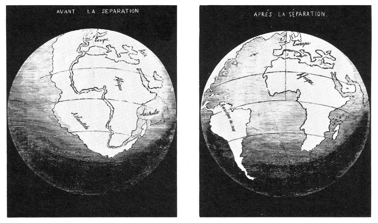 Maps made by Snider-Pellegrini in 1858 showing his idea of how the American and African continents may once have fitted together. - Source:  Wikimedia Commons